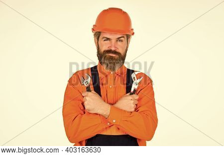 Service And Engineering Concept. Man Hold Wrench Tools White Background. Wrench Tool. Decent Choice