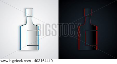 Paper Cut Tequila Bottle Icon Isolated On Grey And Black Background. Mexican Alcohol Drink. Paper Ar