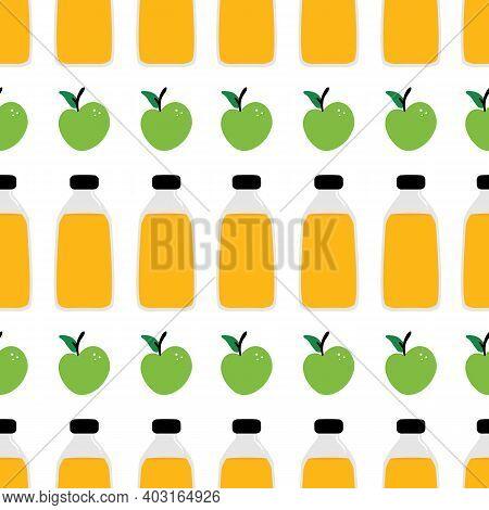 Apple Cider Vinegar Or Juice Bottles And Apple Fruits Vector Cartoon Seamless Pattern Background.