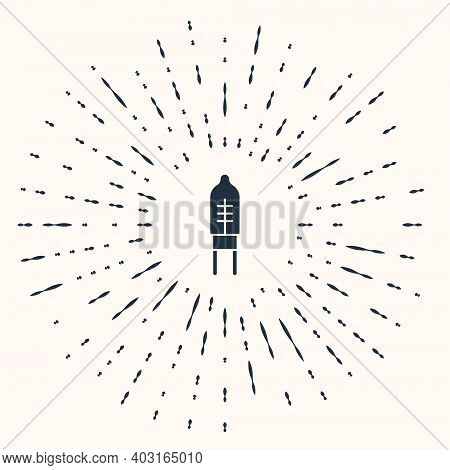 Grey Light Emitting Diode Icon Isolated On Beige Background. Semiconductor Diode Electrical Componen