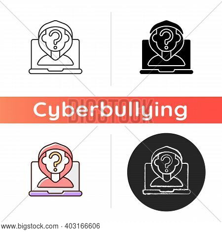 Anonymous Cyberbullying Icon. Cyberharassment Anonymity. Social Media Account Privacy. Users Private