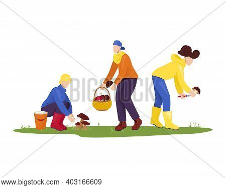 Cheerful People Character Male And Female Collect Mushroom Field, Together Friend Forest Picking Fun