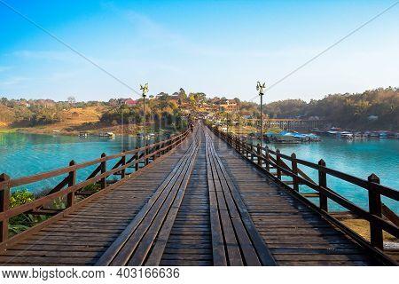 Uttama Nusorn Wooden Bridge, Mon Bridge It's Longest Wooden Bridge In Thailand Across The Songgaria