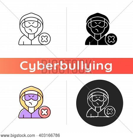 Block Or Mute Harasser Icon. Ban Internet Troll. Cyberbullying And Cyberharassment. Stop Anonymous O