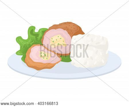 Restaurant Food Concept Plate Rice, Organic Leaf And Chicken Kiev Cutlet With Filling Cheese Vector
