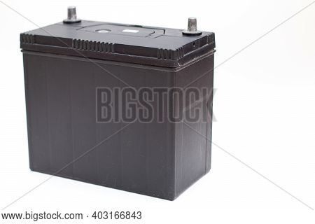 Black Rechargeable Car Battery Isolated On White Background.
