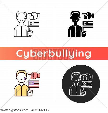 Political Cyberbullying Icon. Offensive Comment. Victim Of Discrimination. Shaming For Politics. Cyb