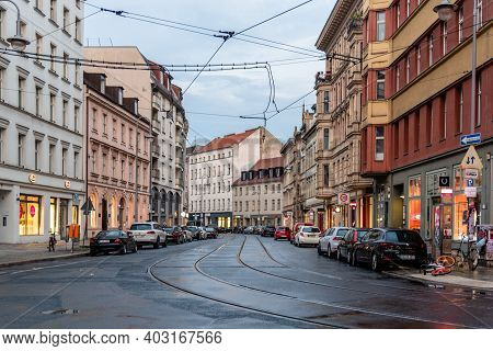 Berlin, Germany - July 29, 2019: Street With Tramway Tracks In Central Mitte Berlin A Rainy Day Of S