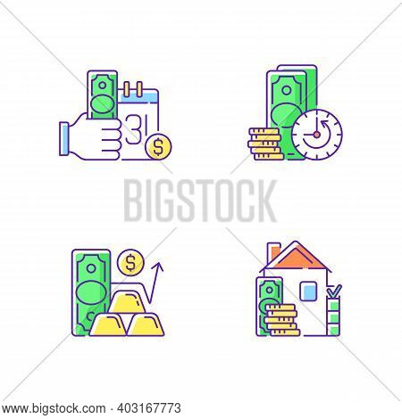 Hockshop Rgb Color Icons Set. Payday Loan. Extension. Gold Price. Down Payment. Short-term Borrowing