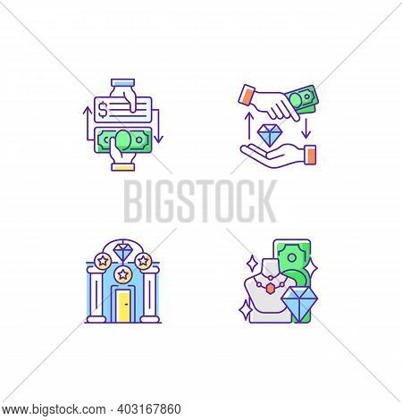 Popshop Rgb Color Icons Set. Paid Check Cashing. Money Loan. Upscale Pawnshops. Product Valuable. Ca