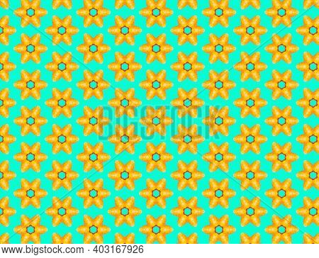 Opuntia Fruit Pattern On Vibrant Turquoise Color Background. Minimal Flat Lay Food Texture