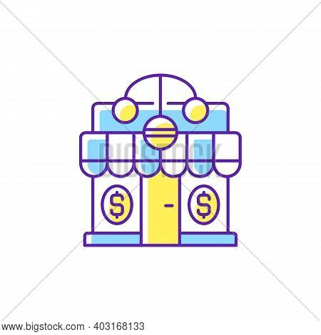 Pawnshop Rgb Color Icon. Loaning Money Business. Collateral-based Loans. Reselling Retail Items. Lea
