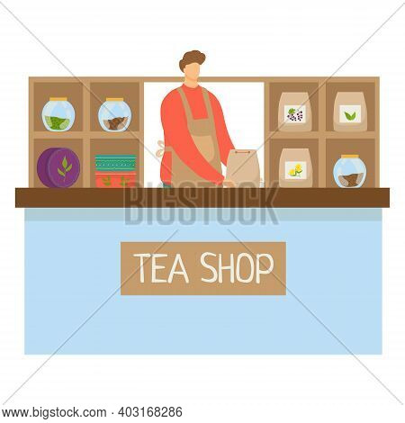 Cashier Character Man Trade Leaf Sheet Tea And Coffee Drink, Concept Infusion Shop Flat Vector Illus