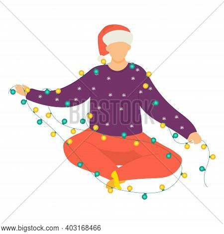 Christmas Mood Concept, Man Character Sitting In Light Bulb Garland, Male People Nativity Hat Flat V