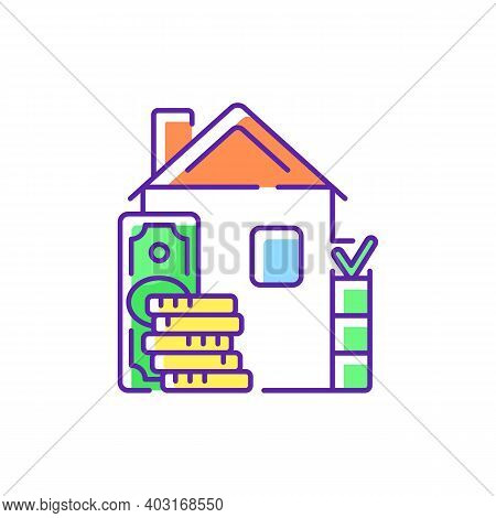 Down Payment Rgb Color Icon. Expensive Good, Service Purchase. Initial Upfront Partial Payment. Real