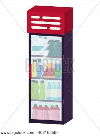 Fridge With Cold Drink, Non Alcoholic Carbonated Beverage And Juice Standing In Vending Machine Flat