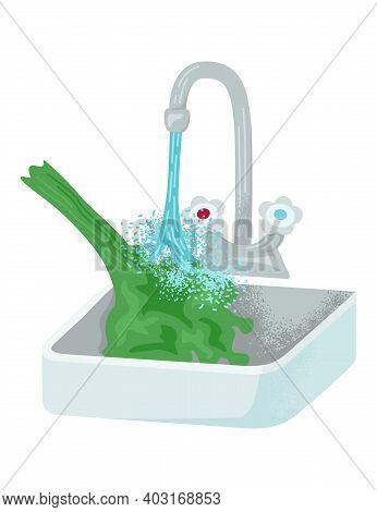Faucet Water Clean Wash Organic Green Leaf Salad, Concept Kitchen Metal Tap, Farmer Salad Bunch Flat