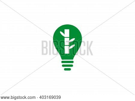 Bamboo And Electric Bulb Icon Isolated On White Background. Bamboo Icon Trendy And Modern Bamboo Sym