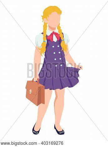 Modern Student Character Girl Standing Wearing School Uniform, Female Hold Diplomat Schoolbag Cartoo