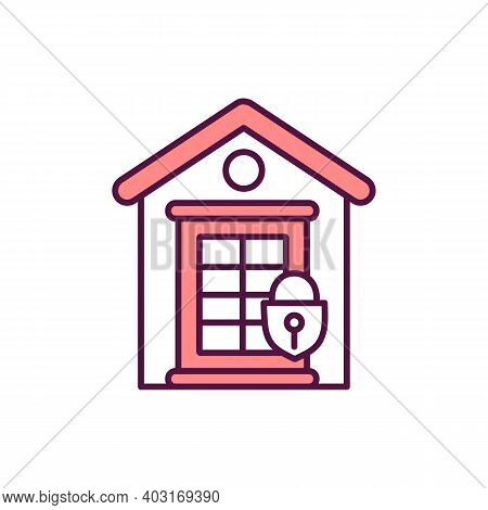 Locked Home Door Rgb Color Icon. House Security. Private Property. Real Estate Protection. Safeguard