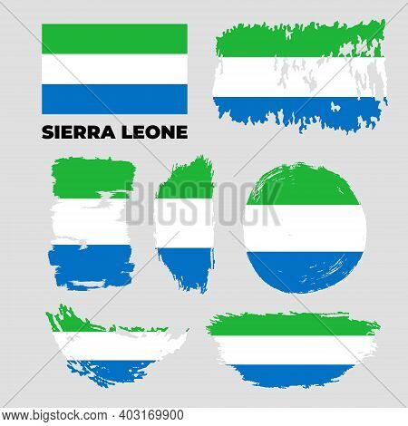 Brush Flag Of Sierra Leone Country. Happy Independence Day Of Sierra Leone