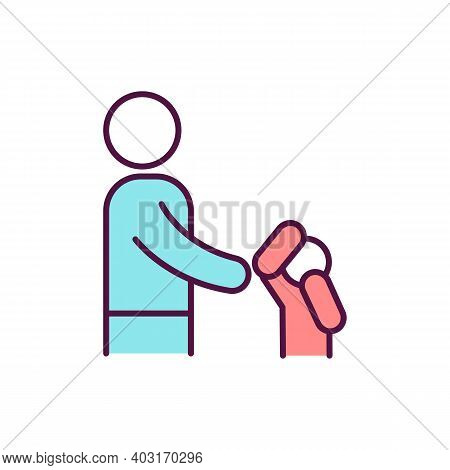 Child Avoid Physical Contact Rgb Color Icon. Children With Communication Problem. Sign Of Physical A