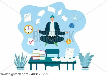 Businessman Levitating Meditating, Concept Business Employment Working Process, Workplace Flat Vecto