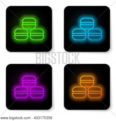 Glowing Neon Line Macaron Cookie Icon Isolated On White Background. Macaroon Sweet Bakery. Black Squ