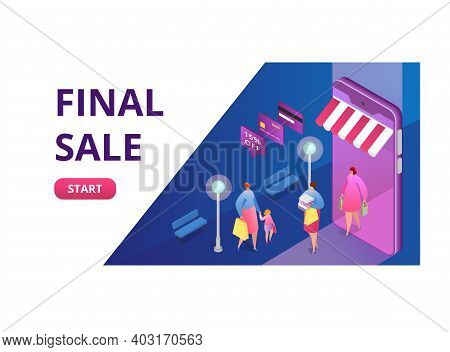 Final Sale Concept Online Shopping Sell Out, Start Clearance, People Buy Carry Package Clothing 3d I