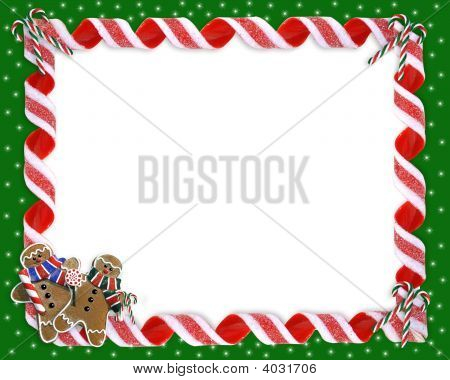Christmas Frame Candy Ribbons Border