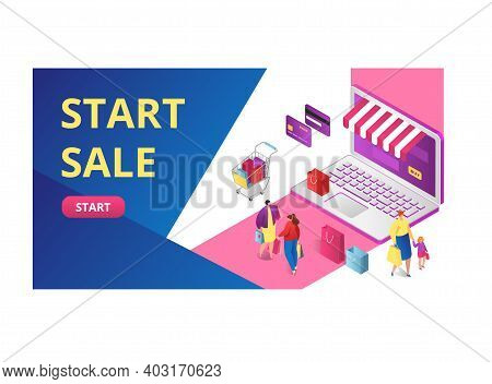Start Sale Online Shopping Sell Out, People Standing Gadget Laptop Package Clothing 3d Isometric Vec