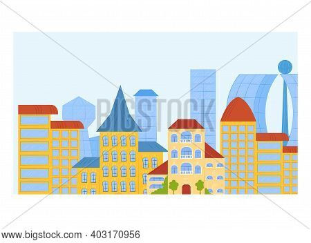 Concept Modern Urban Landscape City Bannerview, Megapolis Town Flat Vector Illustration, Isolated On