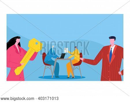 Businesswoman Hold Golden Key, Business Negotiations With Businessman, Man Character Industry Meetin