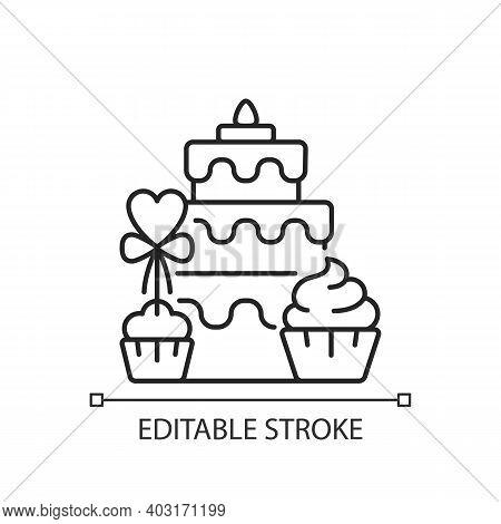 Candy Bars Linear Icon. Buffet With Cupcakes And Muffins. Cake For Wedding Celebration. Thin Line Cu