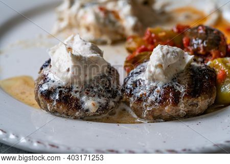 Balkan Cevapcici Kofta Kofte Kebab With Buttercream. Close Up Macro View.