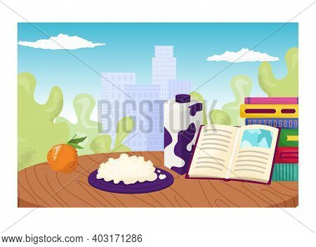 Relaxing Foodstuff Place, Cozy Reading Area For Meal Milk, Curd And Organic Fruit Flat Vector Illust