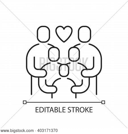 Family Reunion Linear Icon. Relatives Social Gathering. Parents Celebrate Together With Children. Th