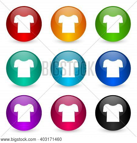 Shirt Icon Set, Colorful Glossy 3d Rendering Ball Buttons In 9 Color Options For Webdesign And Mobil