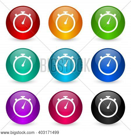 Stopwatch Icon Set, Colorful Glossy 3d Rendering Ball Buttons In 9 Color Options For Webdesign And M