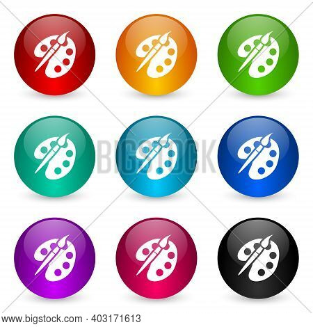 Paint Brush, Palette, Art Icon Set, Colorful Glossy 3d Rendering Ball Buttons In 9 Color Options For