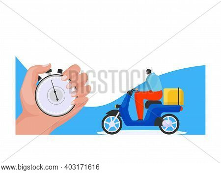 Fast Delivery Service, Male Hand Hold Pocket Watch, Postman Character Ride Motorbike With Post Packa