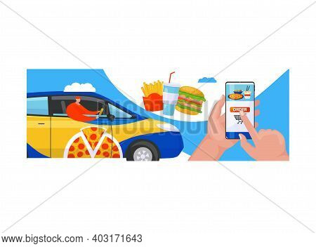 Fast Food Delivery Service, Male Hand Hold Smartphone Online Order Foodstuff, Supply Meal Flat Vecto