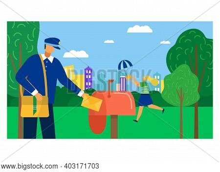 Postman Character Fast Delivery Postal Parcel, Professional Mailman Carry Important Mail, Mailbox Fl