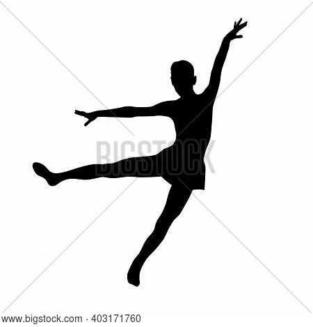 Graceful Girl Dance Of Freedom And Lightness Black Silhouette