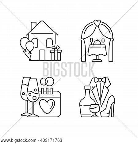 Family Celebration Linear Icons Set. Housewarming Party. Engagement, Romantic Dinner. Wedding Recept