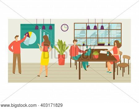 Teamwork Coworking Office Place, Male Female Character Colleague Work Together, Infographic Activity