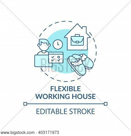 Flexible Working House Concept Icon. Working Remotely From Home Idea Thin Line Illustration. Work-fr