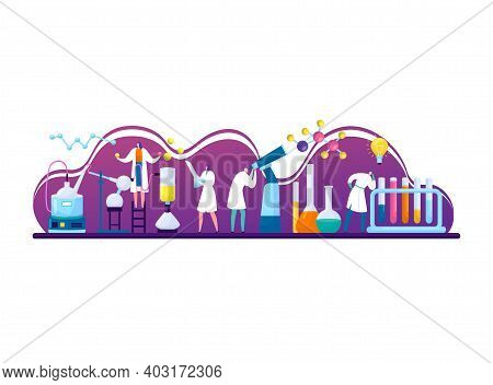 Tiny Research Fellow Character Studying Chemical, Scientific Assistant Laboratory Work Flat Vector I