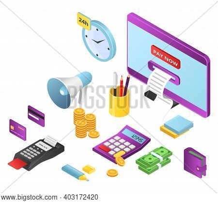 Online Concept Store, Remote Internet Pay, Icon Modern Digital Web Payment Stuff 3d Isometric Vector