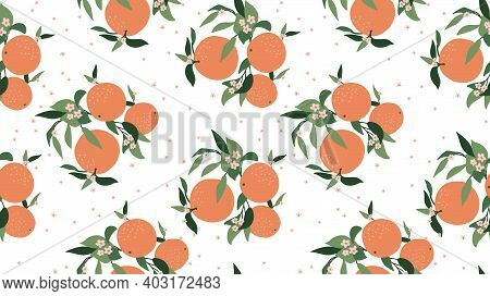 Orange Floral Seamless Pattern. Abstract Branches Of Orange, Leaves And Color White Background. Mode